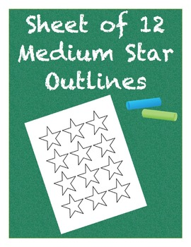 Medium Star Outlines Sheet of 12