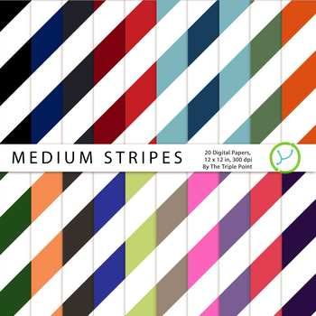 Medium Stripes Background: 20 Digital Papers