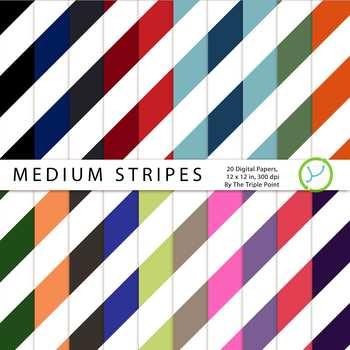 Medium Stripes Background: 20 Digital Papers