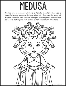 Medusa, Greek Mythology Informational Text Coloring Page ...
