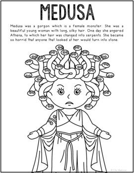 Medusa, Greek Mythology Informational Text Coloring Page C