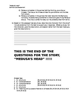 """Medusa's Head"" Common Core Reading Literature Assessment"
