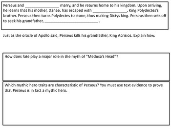 """""""Medusa's Head"""" Guided Reading Questions"""