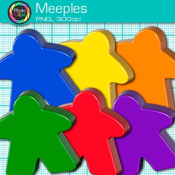 Rainbow Meeple Clip Art {Board Game and Mini People Graphics for Resources}