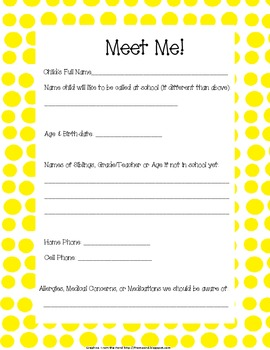 Meet Me Form for Back to School