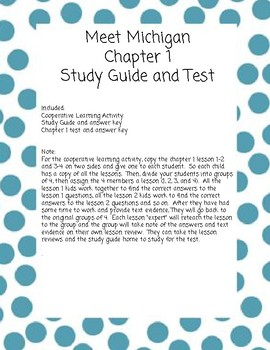 Meet Michigan Chapter 1 Cooperative Learning Activities and Chapter Test