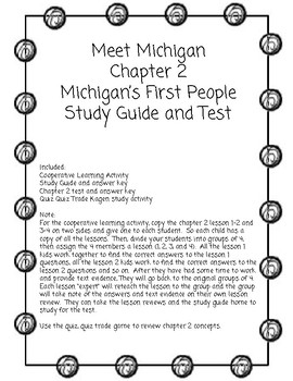 Meet Michigan Chapter 2 Cooperative Learning Activities and Chapter Test