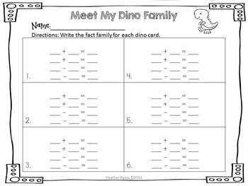 Meet My Dino Family {Simple Fact Family Game}