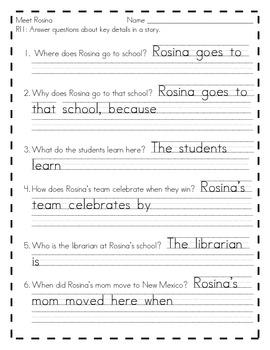 Meet Rosina Common Core Worksheet