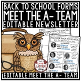 Meet the Teacher Template Editable: Back to School Night, Open House Forms