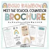Meet The School Counselor Brochure Boho Rainbow Theme
