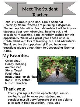 Meet The Student Teacher EDITABLE