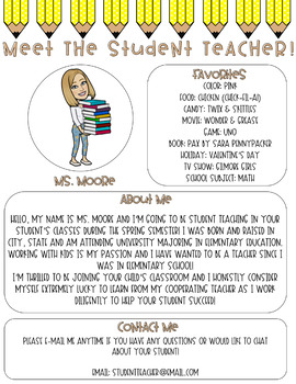 Meet The Student Teacher Letter Pencil Me In By Lala