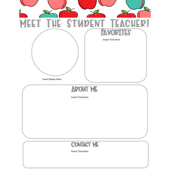Meet The Student Teacher Letter - Sweet Apples