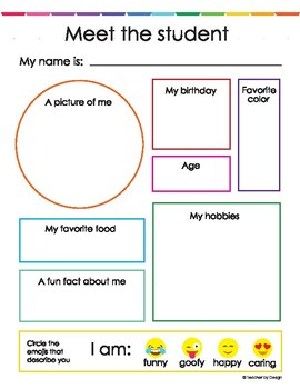 Meet The Student Worksheet By Shopteacherbydesign Tpt