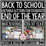 Digital End of Year Letters, Welcome Back to School Editab