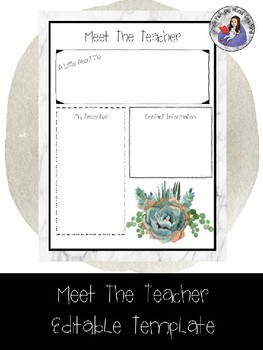 Meet The Teacher Succulent and Marble