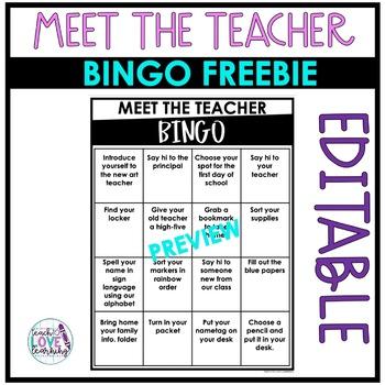 Editable Meet The Teacher BINGO Freebie