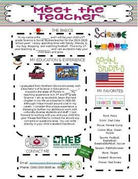 Meet The Teacher Bio Template Worksheets Teaching Resources Tpt