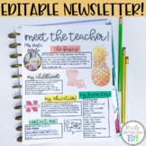Meet The Teacher Newsletter Template- EDITABLE- Pineapple
