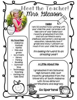 Meet The Teacher Handout {Editable}