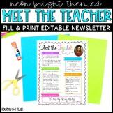 Meet The Teacher Newsletter - Neon Brights