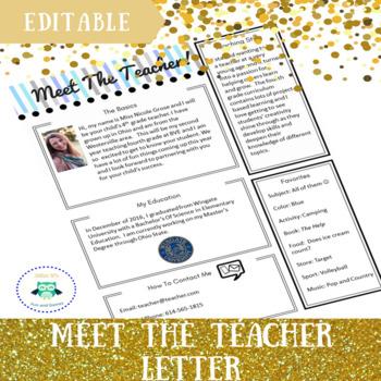 meet the teacher letter template editable