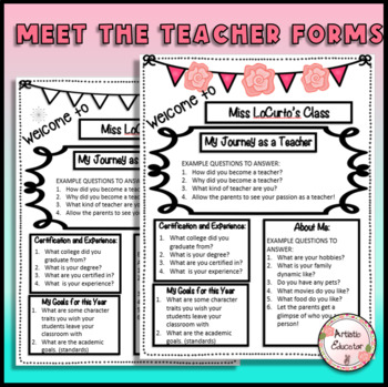 Editable Meet the Teacher Printables-Worksheet with Guided Questions