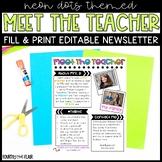 Meet The Teacher Newsletter - Neon Dots