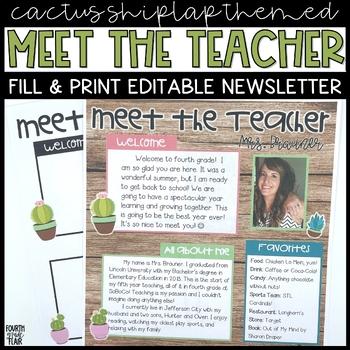 Meet The Teacher Newsletter - Succulent Farmhouse