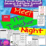 Meet The Teacher Night EDITABLE (4) + No Prep Forms! Activities, Table Tents