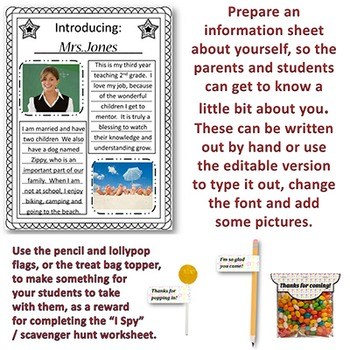 Meet The Teacher EDITABLE forms and decor for Open House, Back to School Night