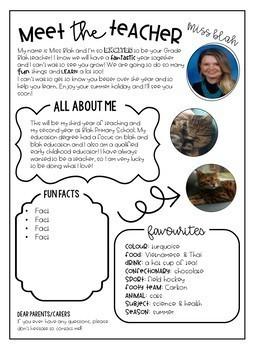 Meet The Teacher Information Letter {editable}