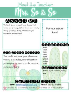 Meet The Teacher Letter - Watercolor Cactus Theme
