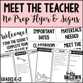 Meet The Teacher NO PREP Flyer & Signs