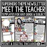Superhero Theme Virtual Meet the Teacher Template Editable