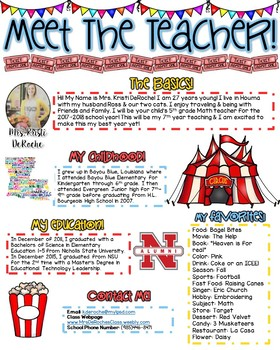 Meet The Teacher Newsletter- EDITABLE - Circus