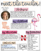 Meet The Teacher Newsletter- EDITABLE - Flamingo