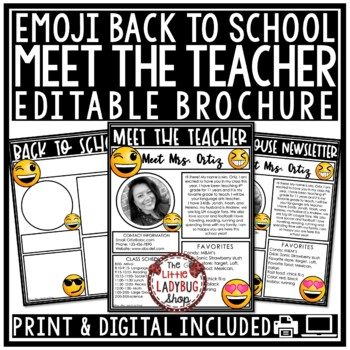 Meet The Teacher Newsletter Editable- Emoji Back to School Forms