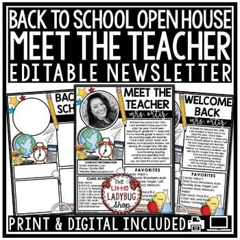 Meet The Teacher Newsletter Editable, Open House, Back to School Forms