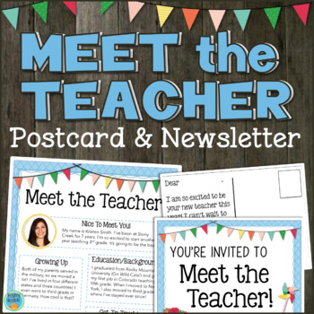 Meet the teacher newsletter and postcards editable by fishyrobb for Meet the teacher newsletter