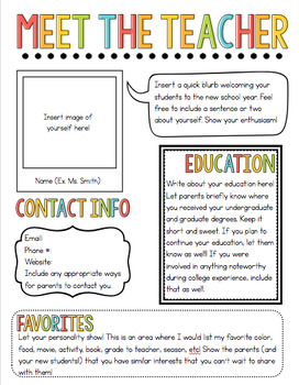 Meet the teacher newsletter template by chalk and gumption for Free editable newsletter templates for teachers