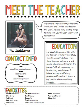 meet the teacher newsletter template by the pixie dust teacher tpt