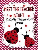 Meet The Teacher Night (Editable Forms & Materials) Lady Bug Theme
