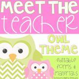 Meet The Teacher Night (Editable Forms & Materials) Owl Theme