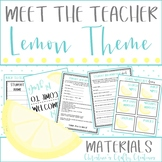 Meet The Teacher Night (Editable Forms and Materials) Lemon Theme