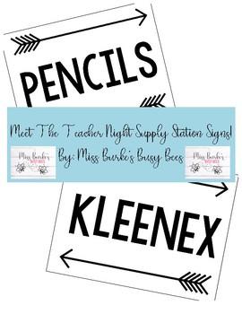 Meet The Teacher Night Supply Station Signs
