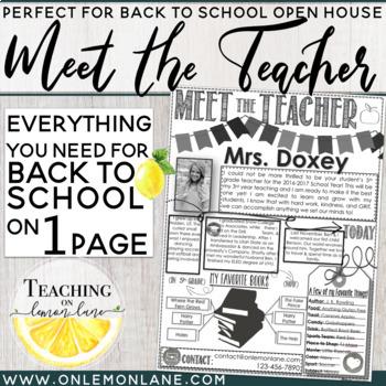 Meet The Teacher Newsletter / Open House / About the Teacher / Back to School