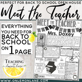 Meet The Teacher Letter / Open House / About the Teacher / Back to School