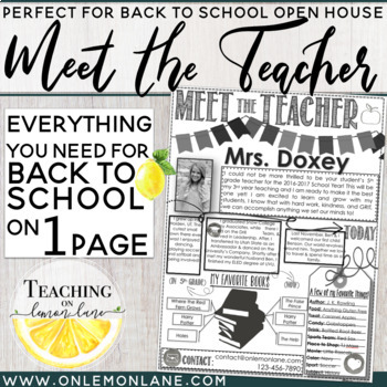 Meet The Teacher Letter / Open House / About the Teacher / Back to School